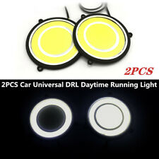 2X 12V Car LED DRL Daytime Running Light Round Shape Lights COB Driving Lamp Kit