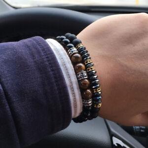 Men's Micro Pave CZ Stopper Men Charm Bracelet 8mm Matte Onyx Hematite Beads Set