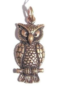 Bronze Owl Pendant Wicca Witch Goth Pagan Necklace Charm 30mm