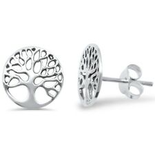 Plain Round Tree of Life Studs .925 Sterling Silver Earrings