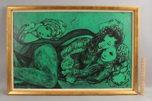 Large 1972 Annunciata Sessler Brazilian Mid-Century Expressionist Oil Painting