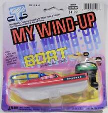 "Vintage ""My Wind-Up Boat"" by Ja-Ru c.1986 MOC Boat w/Bow Rails w/Outboard Motor"
