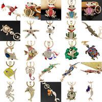 Luxury fish Key chians Purse Bag Rhinestone Keyring Keychain charm Pendant Gift