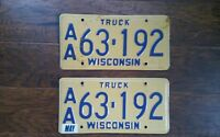 1988 Set of WISCONSIN ~ TRUCK License Plates ~ Tag # AA63-192 Packers Badgers