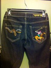 Beverly Hills Polo Club Dark Multi Color Logo Boot Cut Jeans Size 5/6 Ret.$62