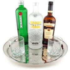 Stainless Steel Round Bar Serving Tray - Platter - Restaurant Cocktail Waitress