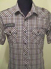 American Rag Dress Shirt Short Sleeve Size Medium Pearl Snap London UK Football