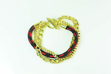 """UNISEX GOLD LAYERED CHAIN  RED BLACK ROPE """"SWAG"""" BRACELET TARTAN LOOK (CL9)"""