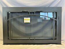 """Stoll Glass Fireplace Bi-Fold Window Arched Pane Charcoal Iron 39"""" x 24.5"""" New"""