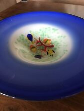 Large Murano Style Art Glass Bowl with Gold Fish Design