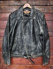 RARE Vintage 90s Harley Davidson in pelle effetto invecchiato Giacca da Moto USA BIKER 2XL