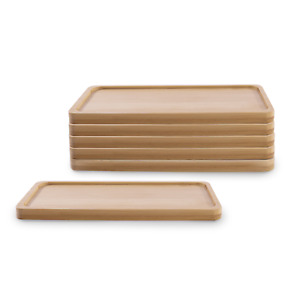 Bamboo Base for Ceramic Planters Set of 6 Great for Plant & Flower Pots M&W