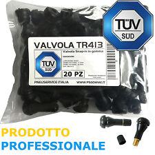 20 x Valvole in gomma TR413 per pneumatici tubeless. Valvole corte per cerchi