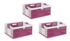 3x Profesional Caja plegable con Asas Suaves Blanco / Baya 32L de transporte