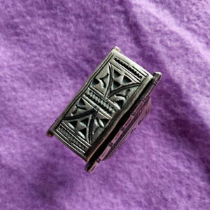 FINE SILVER RINGS 925 STERLING リング BAGUE ADJUSTABLE SIZE TRIBAL WALL R7703