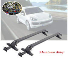 2X Car Roof Rail Luggage Rack Baggage Carrier Aluminum Black w/ Lock &Key 110cm