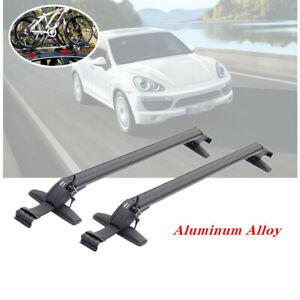 2X Car Roof Rail Luggage Rack Baggage Carrier Aluminum Black w/ Lock &Key 110cm