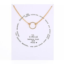 Karma Circle of Life Necklace Believe Trust Enjoy Rose Gold Charm Gift Wish Card