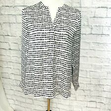 Denver Hayes PS Top Tunic Satin Relaxed Fit Black White Silver Bead Trim #S