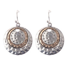 Womens Vintage Bohemian Boho Style Silver Big Round Bronze Inlay Dangle Earrings