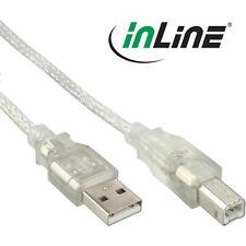 InLine USB 2.0 Kabel, A an B, transparent, mit Ferritkern, 3 Meter