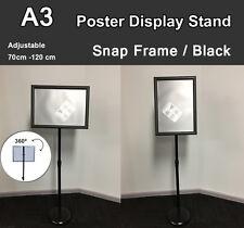 A3 Poster Floor Stand Snap Frame Pedestal Sign Holder Display Adjustable Height