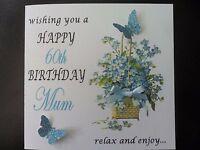 Personalised Handmade Floral Birthday Card 18th 21st etc Mum Sister Nan