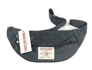 True Religion Logo Slinger Belt Bag Waist Bag Fanny Pack Black NEW