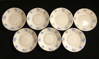 "Antique Chelsea Ware Blue Thistle - Lot of 7 6.5"" Dessert Plates Gold Trim RARE"
