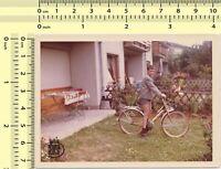 088 Boy Ride Bicycle Kid Child Portrait vintage photo original old snapshot