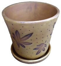 """PPI 6"""" x 6"""" Autumn Leaves Brown Ceramic Planter Pot w Built in Water Tray"""