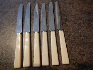 6 Athenian Sheffield Tea - Cake Knives Faux Bone Resin Handles