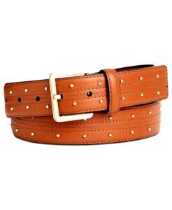 Calvin Klein Womens Brown Pin-Dot Studded Leather Dress Cognac Belt