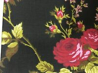 Black Red Rose Flower Print Poly Cotton Fabric - Sold By The Yard - 59""