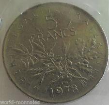 5 francs semeuse 1978 : TTB : pièce de monnaie française