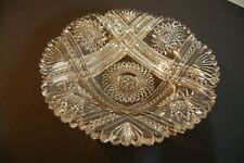 Antique Exceptional American Brilliant Period Cut Crystal Glass Large Low Bowl