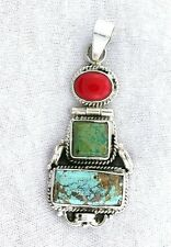 Sterling Silver Persian Turquoise Coral Cabochon Cab Gem Hindged Pendant EBS2353