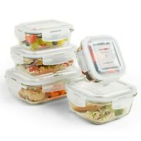 VonShef 10pc Glass Food Storage Containers Airtight Tupperware Clip Top Lid
