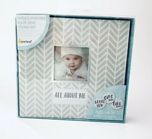 Pearhead Herringbone Baby Memory Book w/ 16 Baby Belly Stickers gray silver NEW