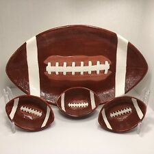 "Football Shaped 18"" Serving Tray & Dip Bowl Appetizer Snack Set Boston Warehouse"