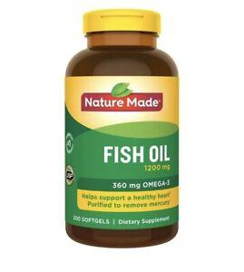 Nature Made Fish Oil 1200 mg, 200 Softgels Exp-03/2022