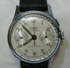 Vintage DUMONT 17 Jewels Chronograph Swiss Made Stainless Steel Men's Watch -254