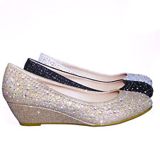 Fisher2 Rhinestone Embellished Mesh Glitter On Low Wedge Dress Pump