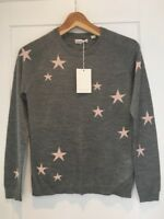 CHINTI AND PARKER Star Sweater Jumper Grey Pink Cashmere Silk S Small New BNWT