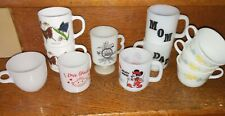 11 Vintage Advertising Fire King Anchor Hocking Mixed Lot Milk Glass Cups Mugs