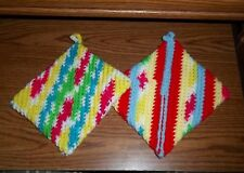 New listing Candy bright colored handcrafted potholders. Set of 2!