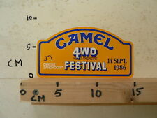 STICKER,DECAL CAMEL 4 WD AUTO-MAGAZINE FESTIVAL ZANDVOORT 14-9-1986 FOUR WHEEL E