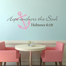 Hope Anchors The Soul Wall Sticker Bible Hebrews 6:19 Word Removable Vinyl Decor