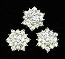 SALE 5Pcs Alloy Gold Glass Rhinestone Floral Flatback Buttons DIY Embellishments