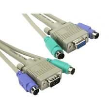 3m Long 2 X M-M Ps/2 et 1 X Svga M-F KVM Passe Câble